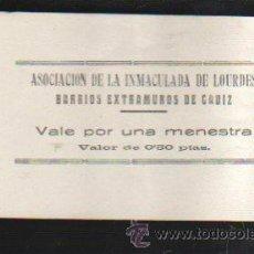 Monedas locales: VALE POR UNA MENESTRA. ASOCIACION DE LA INMACULADA DE LOURDES, CADIZ. Lote 34303661