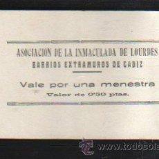 Monedas locales: VALE POR UNA MENESTRA. ASOCIACION DE LA INMACULADA DE LOURDES, CADIZ. Lote 34303672