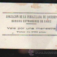 Monedas locales: VALE POR UNA MENESTRA. ASOCIACION DE LA INMACULADA DE LOURDES, CADIZ. Lote 34303688