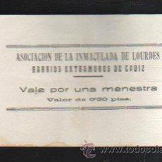 Monedas locales: VALE POR UNA MENESTRA. ASOCIACION DE LA INMACULADA DE LOURDES, CADIZ. Lote 34303695