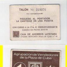 Monedas locales: C259-AGRUPACIÓN DE VENDEDORES DE LA PLAZA DE CUBA. 1 PESETAS.1979.. Lote 34633989