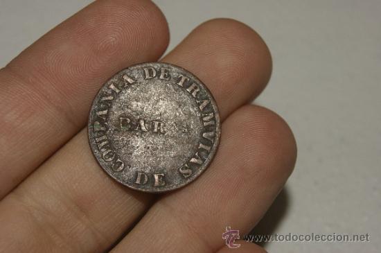Monedas locales: Ficha o moneda de Compañia de tranvias de Barcelona - Foto 3 - 34861127