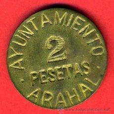 Monedas locales: MONEDA LOCAL, GUERRA CIVIL, 2 PESETAS AYUNTAMIENTO ARAHAL , MBC , ORIGINAL, M1044. Lote 35193086