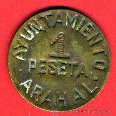 Monedas locales: MONEDA LOCAL, GUERRA CIVIL, 1 PESETA AYUNTAMIENTO ARAHAL , MBC , ORIGINAL, M1046. Lote 35193118