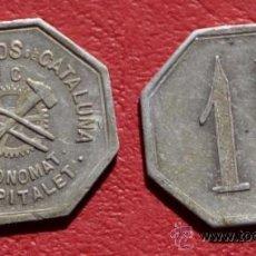 Monedas locales: FICHA ALTOS HORNOS DE CATALUÑA - ECONOMAT - 1 PESETA - L'HOSPITALET DE LLOBREGAT . Lote 35920355