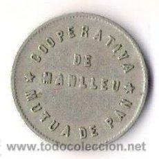 Monedas locales: COOPERATIVA MUTUA DE PAN DE MANLLEU 1 PESETA. Lote 36118408