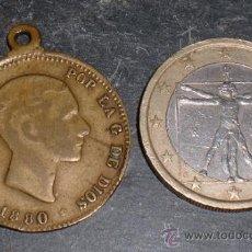 Monedas locales: FICHA DE ALFONSO XII 1880 DESCONOCIDA. Lote 36224345