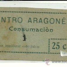 Monedas locales: (FC-77)VALE 25 CTS PARA 1 CONSUMACIONCOOPERATIVA CENTRO ARAGONES. Lote 36750506