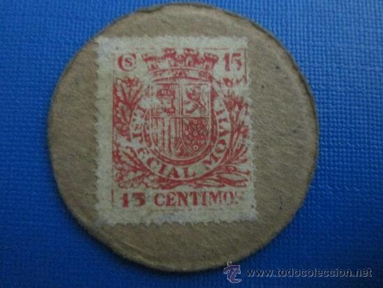 CARTON MONEDA 15 CENTIMOS REPUBLICA ESPAÑOLA, TIMBRE MOVIL (Numismática - España Modernas y Contemporáneas - Locales y Fichas Dinerarias y Comerciales)