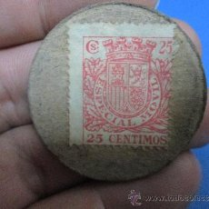 Monedas locales: CARTON MONEDA 25 CENTIMOS REPUBLICA ESPAÑOLA, ESPECIAL MOVIL. Lote 37599089