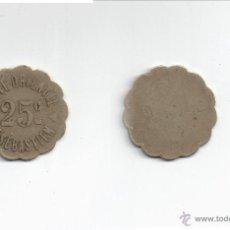 Monedas locales: FICHA: 25 CENTIMOS CAFE ORIENTAL SAN SEBASTIAN - GUIPUZCOA. Lote 39326459