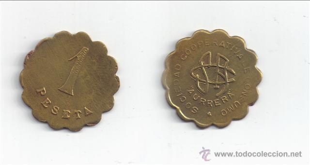 FICHA: AURRERA - SESTAO (VIZCAYA) 1 PESETA (Numismática - España Modernas y Contemporáneas - Locales y Fichas Dinerarias y Comerciales)