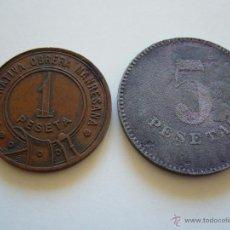 Monedas locales: LOTE DE 2 MONEDAS LOCALES. IGUALADA Y MANRESA. Lote 40261609