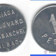 Monedas locales: FICHA: ARRIAGA - BOULEVARD - CARABANCHEL - BILBAO 1 PESETAS. Lote 40355497