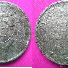 Monedas locales: INTERESANTE FICHA TOKEN CASINO. VALOR 5 PESETAS. PRINCIPIOS SIGLO XX. DIÁMETRO 36 MM. Lote 40746443