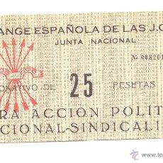 Monedas locales: DONATIVO 25 PTAS. JUNTA NACIONAL FALANGE ESPAÑOLA MUY GRANDE 15X8 CTMS.. Lote 40906820