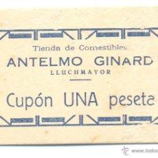 Monedas locales: RARO CUPÓN VALE UNA PESETA TIENDA DE COMESTIBLES ANTELMO GINARD LLUCHMAYOR ( LLUCMAJOR ) MALLORCA . Lote 41321152
