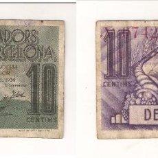 Monedas locales: 10 CÉNTIMOS DE LA UNIÓ DE COOPERADORS DE BARCELONA DE 1936. MBC. CATÁLOGO ANTONI LÓPEZ-1065. (C141).. Lote 41777511