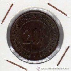 Monedas locales: TOKEN 20 PENCE WILLIAMS BROS STORES LONDON . Lote 42433982