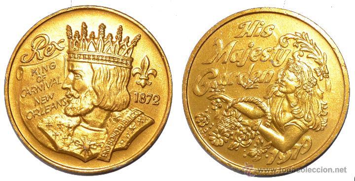 FICHA TOKEN JETON *KING OF CARNIVAL -NEW ORLEANS* 38 MM AÑO 1979. *HIS MAJESTY GARDEN* (Numismática - España Modernas y Contemporáneas - Locales y Fichas Dinerarias y Comerciales)