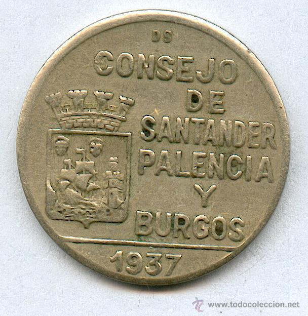 CONSEJO DE SANTANDER Y PALENCIA. 1 PESETA AÑO 1937 (Numismática - España Modernas y Contemporáneas - Locales y Fichas Dinerarias y Comerciales)