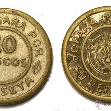 Monedas locales: BONITA FICHA TOKEN JETON **NAVAL 10 DISCOS/ 1 PESETA** PARA FÁCIL PAGO A SU PERSONAL. Lote 43371699