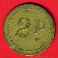 Monedas locales: FICHA CASINO , VALOR 2 PESETAS , GRANDE , ANTIGUA , ORIGINAL , BA. Lote 44243506