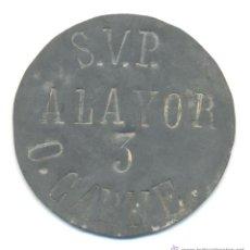 Monedas locales: GUERRA CIVIL CHAPA RACIONAMIENTO 3 O ¿ONZAS CARNE? SAN VICENTE PAUL ALAYOR ALAIOR MENORCA. Lote 44295498