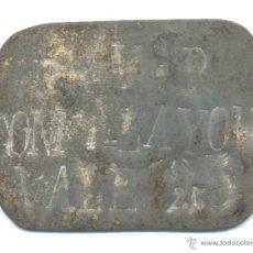 Monedas locales: GUERRA CIVIL CHAPA RACIONAMIENTO VALE 25 SAN VICENTE PAUL ALAYOR ALAIOR MENORCA. Lote 44295651