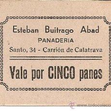 Monedas locales: VALE POR CINCO PANES ESTEBAN BUITRAGO ABAD PANADERIA C. REAL REVERSO SELLO Y FIRMA ORIGINAL DE ÉPOCA. Lote 44403055