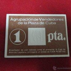 Monedas locales: 1 PESETA AGRUPACION DE VENDEDORES PLAZA DE CUBA. Lote 44814258