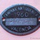 Monedas locales: CHAPA METALICA-CAMPAÑA ANTIRRABICA,AÑO 1960 DE VALENCIA. Lote 45077157