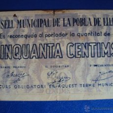 Monedas locales: (BP-94)CONSELL MUNICIPAL DE LA POBLA DE LILLET 50 CTS.-GUERRA CIVIL. Lote 45535487
