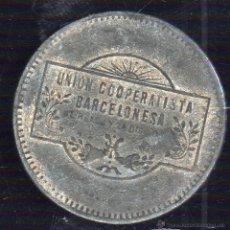 Monedas locales: FICHA DE LA UNION COOPERATIVISTA BARCELONESA. 5 PESETAS.. Lote 46248075