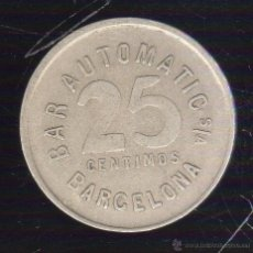 Monedas locales: FICHA DE BAR AUTOMATIC. BARCELONA. 25 CENTIMOS.. Lote 46248213