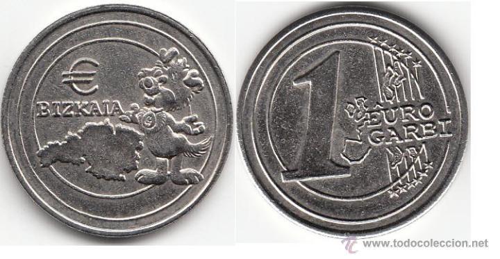 FICHA BIZKAIA - 1 EURO GARBI (Numismática - España Modernas y Contemporáneas - Locales y Fichas Dinerarias y Comerciales)
