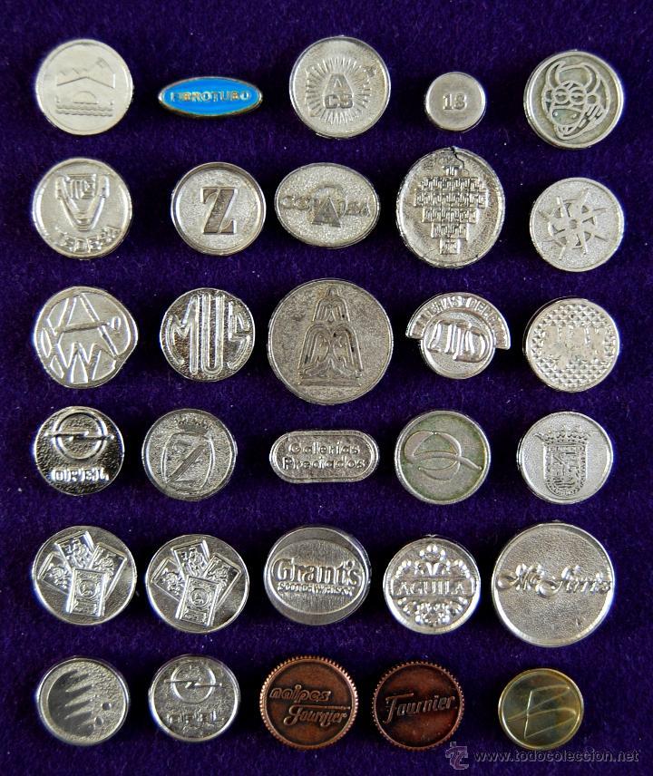 Monedas locales: 30 FICHAS METALICAS DE JUEGO Y PUBLICITARIAS. (FICHA PUBLICITARIA OPEL, CERVEZA KELER, FOURNIER...) - Foto 2 - 47192597