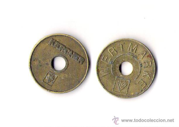 FICHA COMERCIAL *WERTMARKE --KARCHER* (Numismática - España Modernas y Contemporáneas - Locales y Fichas Dinerarias y Comerciales)