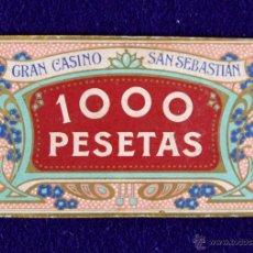 Monedas locales: FICHA GRAN CASINO SAN SEBASTIAN DE PRINCIPIO DE SIGLO CON ORLAS MODERNISTAS. 1000 PTS. CON FIRMA. . Lote 48558101