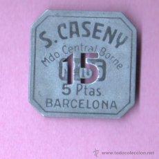 Monedas locales: FICHA COMERCIAL DEL MERCADO DEL BORNE DE BARCELONA - S. CASENY VARIEDAD 15. Lote 157969077