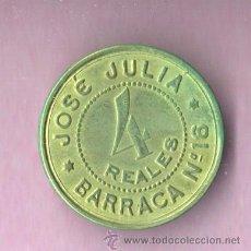 Monedas locales: FICHA LOCAL - COOPERATIVA DE JOSE JULIA - 4 REALES - BARRACA Nº 16. Lote 71605681