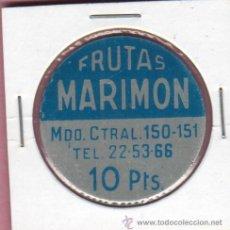 Monedas locales: CHAPA COOPERATIVA FICHA - DE FRUTAS MARIMON MERCADO CENTRAL DE BARCELONA Nº 150 VARIEDAD 1O PTAS. Lote 49634339