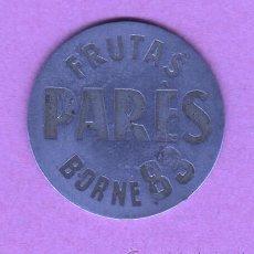Monedas locales: CHAPA COOPERATIVA FICHA - DE FRUTAS PARES - BORNE Nº 83 BARCELONA MERCADO CENTRAL. Lote 157969002