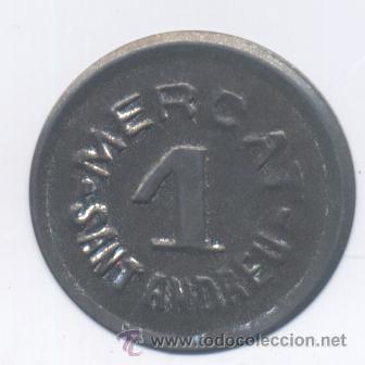 MERCAT SANT ANDREU- 1 PESETA (Numismática - España Modernas y Contemporáneas - Locales y Fichas Dinerarias y Comerciales)