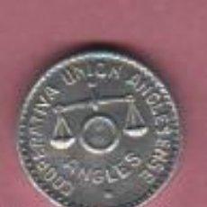 Monedas locales: FICHA DE LA COOPERATIVA UNIÓN ANGLESENSE - ANGLES GIRONA - VARIEDAD 1 PESETA - ALUMINIO. Lote 50979306