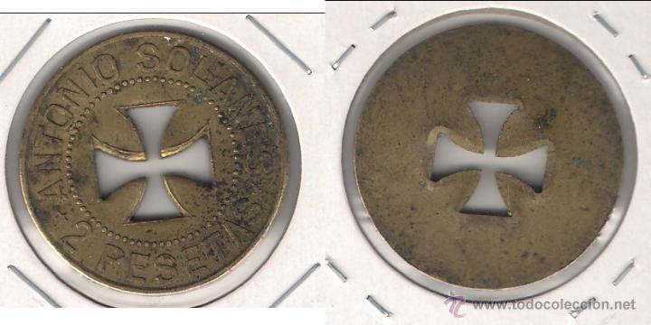 FICHA DE 2 PESETAS DE ANTONIO SOLANES CRUZ VACIA. (C23). (Numismática - España Modernas y Contemporáneas - Locales y Fichas Dinerarias y Comerciales)