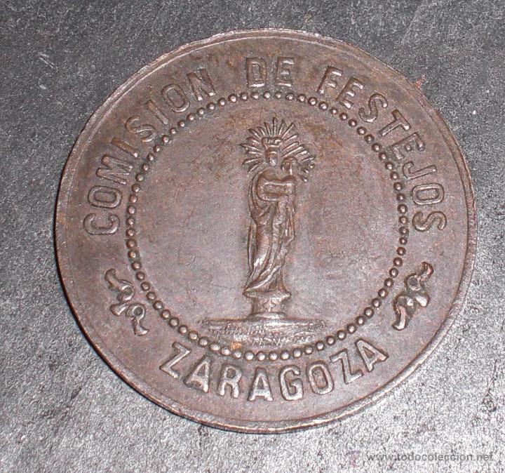 RARA FICHA LOCAL ZARAGOZA INAUGURACION OBRAS DEL TEMPLO 1872 (Numismática - España Modernas y Contemporáneas - Locales y Fichas Dinerarias y Comerciales)