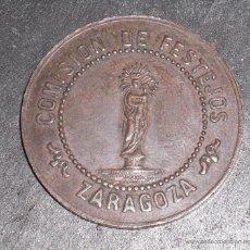 Monedas locales: RARA FICHA LOCAL ZARAGOZA INAUGURACION OBRAS DEL TEMPLO 1872. Lote 52346079