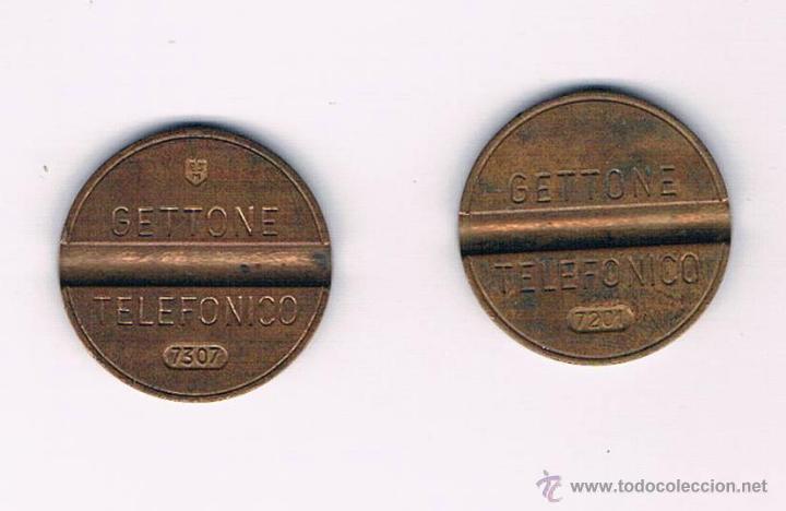 LOTE 2 FICHAS DINERARIAS MONEDA EMPRESA GETTONE DINERO COMERCIAL FICHA TELEFÓNICA (Numismática - España Modernas y Contemporáneas - Locales y Fichas Dinerarias y Comerciales)