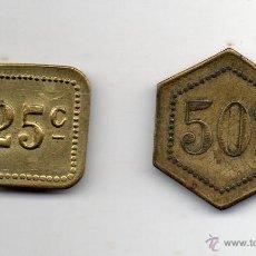 Monedas locales: LOTE DE 2 FICHAS DE CASINO ANTIGUAS. 25 Y 50 C.. Lote 52865276